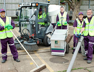 Veolia Haringey street cleaning crew and equipment