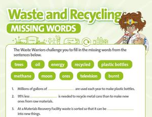 Nottinghamshire Recycles Waste Warriors - Missing Words