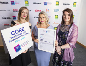 Veolia NI being presented with Silver Core accreditation by BITC NI
